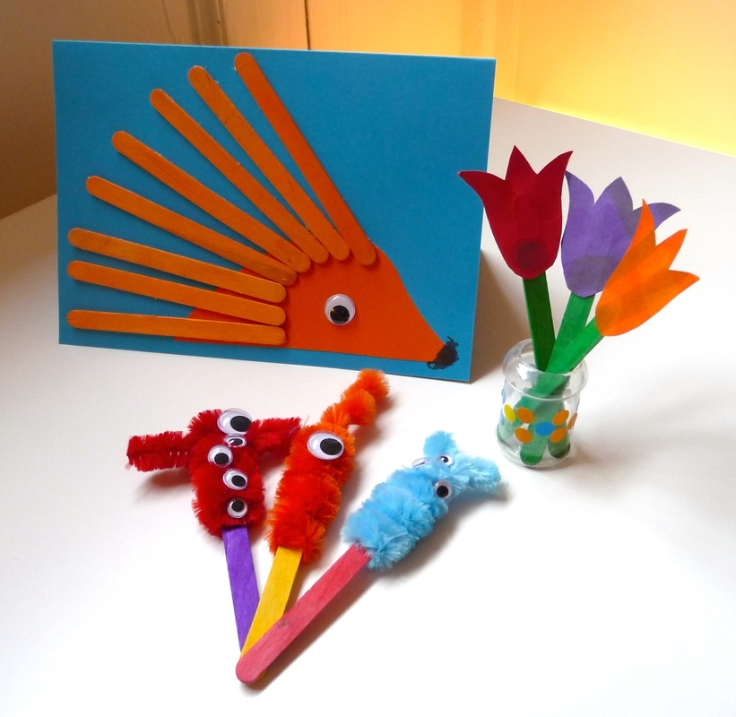 Lolly stick crafts: tulips, porcupines and monsters