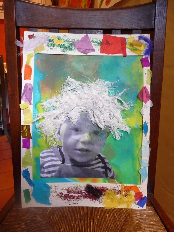 Decorated picture frame with collage photo