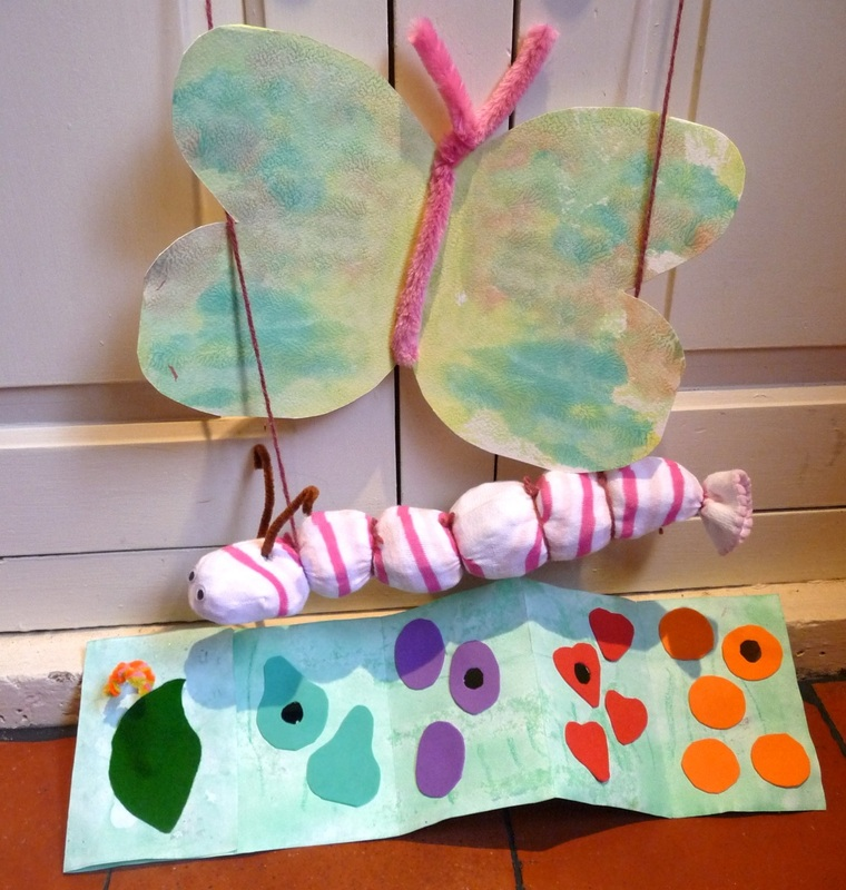 Very Hungry Caterpillar crafts: painted butterfly, caterpillar puppet and interactive book